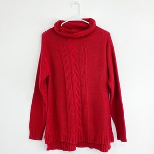 Bright red knit sweater